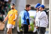 24 October 2021; Referee Gavin Quilty discusses a wide call with his umpires during the Kilkenny County Senior Club Hurling Championship Semi-Final match between Ballyhale Shamrocks and James Stephens at UPMC Nowlan Park in Kilkenny. Photo by Sam Barnes/Sportsfile