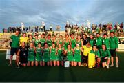24 October 2021; Ireland players celebrate with the cup following the FIH Women's World Cup European Qualifier Final match between Ireland and Wales at Pisa in Italy. Photo by Roberto Bregani/Sportsfile
