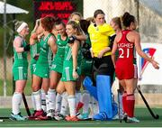24 October 2021; Ireland players celebrate their victory after the FIH Women's World Cup European Qualifier Final match between Ireland and Wales at Pisa in Italy. Photo by Roberto Bregani/Sportsfile