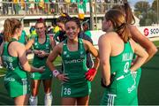 24 October 2021; Anna O'Flanagan of Ireland, who scored both goals, with team-mates after victory in the FIH Women's World Cup European Qualifier Final match between Ireland and Wales at Pisa in Italy. Photo by Roberto Bregani/Sportsfile