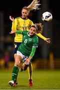 20 October 2021; Leanne Kiernan of Republic of Ireland in action against Amanda Ilestedt of Sweden during the UEFA Women's U19 Championship Qualifier match between Switzerland and Northern Ireland at Jackman Park in Limerick. Photo by Eóin Noonan/Sportsfile