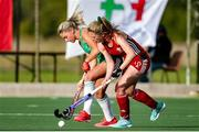 24 October 2021; Chloe Watkins of Ireland in action against Phoebe Richards of Wales during the FIH Women's World Cup European Qualifier Final match between Ireland and Wales at Pisa in Italy. Photo by Roberto Bregani/Sportsfile