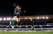 25 October 2021; Roma McLaughlin and Jamie Finn, right, during a Republic of Ireland Women training session at Helsinki Olympic Stadium in Helsinki, Finland. Photo by Stephen McCarthy/Sportsfile