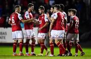 25 October 2021; Billy King of St Patrick's Athletic, centre, celebrates with team-mates after scoring their side's first goal during the SSE Airtricity League Premier Division match between St Patrick's Athletic and Dundalk at Richmond Park in Dublin. Photo by Ben McShane/Sportsfile