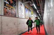 26 October 2021; Amber Barrett, left, and Jamie Finn of Republic of Ireland arrive before the FIFA Women's World Cup 2023 qualifying group A match between Finland and Republic of Ireland at Helsinki Olympic Stadium in Helsinki, Finland. Photo by Stephen McCarthy/Sportsfile