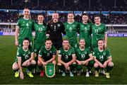 26 October 2021; The Republic of Ireland team, back row, from left, Louise Quinn, Áine O'Gorman, goalkeeper Courtney Brosnan, Megan Connolly, Niamh Fahey and Jamie Finn, with Lucy Quinn, captain Katie McCabe, Savannah McCarthy, Denise O'Sullivan and Heather Payne before the FIFA Women's World Cup 2023 qualifying group A match between Finland and Republic of Ireland at Helsinki Olympic Stadium in Helsinki, Finland. Photo by Stephen McCarthy/Sportsfile