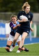 26 October 2021; Brooke Fagan of Metro is tackled by Jess Reynolds of South East during the Sarah Robinson Cup First Round match between South East and Metro at Energia Park in Dublin. Photo by David Fitzgerald/Sportsfile