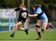 26 October 2021; Robyn Hyland of Metro is tackled by Jane Neill of South East during the Sarah Robinson Cup First Round match between South East and Metro at Energia Park in Dublin. Photo by David Fitzgerald/Sportsfile