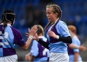 26 October 2021; Abby Healy, right, is congratulated by team-mate Ciara Short of South East after scoring a try during the Sarah Robinson Cup First Round match between South East and Metro at Energia Park in Dublin. Photo by David Fitzgerald/Sportsfile