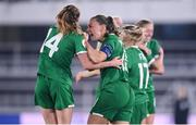 26 October 2021; Katie McCabe, right, and Heather Payne of Republic of Ireland celebrate their side's second goal, scored by Denise O'Sullivan, during the FIFA Women's World Cup 2023 qualifying group A match between Finland and Republic of Ireland at Helsinki Olympic Stadium in Helsinki, Finland. Photo by Stephen McCarthy/Sportsfile