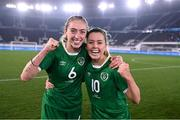 26 October 2021; Megan Connolly, left, and Denise O'Sullivan of Republic of Ireland celebrate after their side's victory in the FIFA Women's World Cup 2023 qualifying group A match between Finland and Republic of Ireland at Helsinki Olympic Stadium in Helsinki, Finland. Photo by Stephen McCarthy/Sportsfile