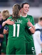 26 October 2021; Katie McCabe, 11, and Niamh Fahey of Republic of Ireland celebrates after their side's victory in the FIFA Women's World Cup 2023 qualifying group A match between Finland and Republic of Ireland at Helsinki Olympic Stadium in Helsinki, Finland. Photo by Stephen McCarthy/Sportsfile