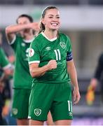 26 October 2021; Katie McCabe of Republic of Ireland celebrates after her side's victory in the FIFA Women's World Cup 2023 qualifying group A match between Finland and Republic of Ireland at Helsinki Olympic Stadium in Helsinki, Finland. Photo by Stephen McCarthy/Sportsfile