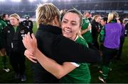 26 October 2021; Republic of Ireland manager Vera Pauw, left, celebrates with Denise O'Sullivan of Republic of Ireland after their side's victory in the FIFA Women's World Cup 2023 qualifying group A match between Finland and Republic of Ireland at Helsinki Olympic Stadium in Helsinki, Finland. Photo by Stephen McCarthy/Sportsfile