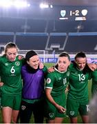26 October 2021; Republic of Ireland captain Katie McCabe speaks to her team-mates following the FIFA Women's World Cup 2023 qualifying group A match between Finland and Republic of Ireland at Helsinki Olympic Stadium in Helsinki, Finland. Photo by Stephen McCarthy/Sportsfile