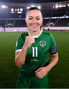 26 October 2021; Republic of Ireland captain Katie McCabe celebrates following the FIFA Women's World Cup 2023 qualifying group A match between Finland and Republic of Ireland at Helsinki Olympic Stadium in Helsinki, Finland. Photo by Stephen McCarthy/Sportsfile