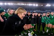 26 October 2021; Republic of Ireland manager Vera Pauw speaks to her players following the FIFA Women's World Cup 2023 qualifying group A match between Finland and Republic of Ireland at Helsinki Olympic Stadium in Helsinki, Finland. Photo by Stephen McCarthy/Sportsfile