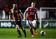 25 October 2021; Michael Duffy of Dundalk and Jamie Lennon of St Patrick's Athletic during the SSE Airtricity League Premier Division match between St Patrick's Athletic and Dundalk at Richmond Park in Dublin. Photo by Ben McShane/Sportsfile