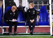 26 October 2021; Republic of Ireland assistant manager Eileen Gleeson, left, and manager Vera Pauw before the FIFA Women's World Cup 2023 qualifying group A match between Finland and Republic of Ireland at Helsinki Olympic Stadium in Helsinki, Finland. Photo by Stephen McCarthy/Sportsfile