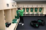 26 October 2021; Republic of Ireland kit and equipment manager Orla Haran prepares the dressing room before the FIFA Women's World Cup 2023 qualifying group A match between Finland and Republic of Ireland at Helsinki Olympic Stadium in Helsinki, Finland. Photo by Stephen McCarthy/Sportsfile