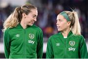 26 October 2021; Megan Connolly, left, and Denise O'Sullivan of Republic of Ireland before the FIFA Women's World Cup 2023 qualifying group A match between Finland and Republic of Ireland at Helsinki Olympic Stadium in Helsinki, Finland. Photo by Stephen McCarthy/Sportsfile