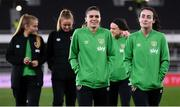 26 October 2021; Jamie Finn and Roma McLaughlin, right, of Republic of Ireland before the FIFA Women's World Cup 2023 qualifying group A match between Finland and Republic of Ireland at Helsinki Olympic Stadium in Helsinki, Finland. Photo by Stephen McCarthy/Sportsfile