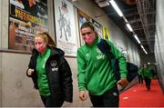 26 October 2021; Jamie Finn, right, and Amber Barrett of Republic of Ireland arrive before the FIFA Women's World Cup 2023 qualifying group A match between Finland and Republic of Ireland at Helsinki Olympic Stadium in Helsinki, Finland. Photo by Stephen McCarthy/Sportsfile
