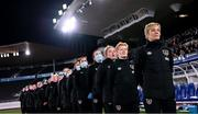 26 October 2021; Republic of Ireland manager Vera Pauw and her backroom staff and players stand for the playing of the National Anthem before the FIFA Women's World Cup 2023 qualifying group A match between Finland and Republic of Ireland at Helsinki Olympic Stadium in Helsinki, Finland. Photo by Stephen McCarthy/Sportsfile