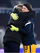 26 October 2021; Tinja-Riikka Korpela of Finland and Finland manager Anna Signeul embrace following a presentation before the FIFA Women's World Cup 2023 qualifying group A match between Finland and Republic of Ireland at Helsinki Olympic Stadium in Helsinki, Finland. Photo by Stephen McCarthy/Sportsfile