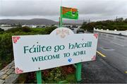 23 October 2021; A general view of a signpost for Achill outside Davitt Park, home of Achill GAA club, at Achill Sound in Mayo. Photo by Brendan Moran/Sportsfile