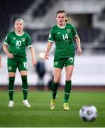 26 October 2021; Heather Payne and Denise O'Sullivan, left, of Republic of Ireland during the FIFA Women's World Cup 2023 qualifying group A match between Finland and Republic of Ireland at Helsinki Olympic Stadium in Helsinki, Finland. Photo by Stephen McCarthy/Sportsfile