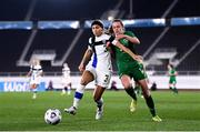 26 October 2021; Tuija Hyyrynen of Finland in action against Heather Payne of Republic of Ireland during the FIFA Women's World Cup 2023 qualifying group A match between Finland and Republic of Ireland at Helsinki Olympic Stadium in Helsinki, Finland. Photo by Stephen McCarthy/Sportsfile