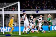 26 October 2021; Louise Quinn of Republic of Ireland in action against Eveliina Summanen of Finland, 20, during the FIFA Women's World Cup 2023 qualifying group A match between Finland and Republic of Ireland at Helsinki Olympic Stadium in Helsinki, Finland. Photo by Stephen McCarthy/Sportsfile