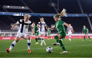 26 October 2021; Denise O'Sullivan of Republic of Ireland in action against Eveliina Summanen of Finland during the FIFA Women's World Cup 2023 qualifying group A match between Finland and Republic of Ireland at Helsinki Olympic Stadium in Helsinki, Finland. Photo by Stephen McCarthy/Sportsfile