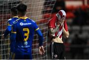 27 August 2021; Patrick Ferry of Derry City reacts after a missed goal chance during the EA Sports U19 Enda McGuill Cup Final match between Derry City and Bohemians at the Ryan McBride Brandywell Stadium in Derry. Photo by Piaras Ó Mídheach/Sportsfile
