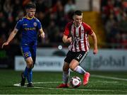 27 August 2021; Michael Harris of Derry City in action against Sean McManus of Bohemians during the EA Sports U19 Enda McGuill Cup Final match between Derry City and Bohemians at the Ryan McBride Brandywell Stadium in Derry. Photo by Piaras Ó Mídheach/Sportsfile