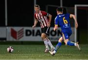 27 August 2021; Dean Corrigan of Derry City in action against Colin Ronroy of Bohemians during the EA Sports U19 Enda McGuill Cup Final match between Derry City and Bohemians at the Ryan McBride Brandywell Stadium in Derry. Photo by Piaras Ó Mídheach/Sportsfile
