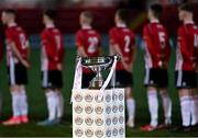 27 August 2021; A general view of the cup before the EA Sports U19 Enda McGuill Cup Final match between Derry City and Bohemians at the Ryan McBride Brandywell Stadium in Derry. Photo by Piaras Ó Mídheach/Sportsfile