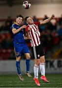 27 August 2021; Aaron Doran of Bohemians in action against Gerard Storey of Derry City during the EA Sports U19 Enda McGuill Cup Final match between Derry City and Bohemians at the Ryan McBride Brandywell Stadium in Derry. Photo by Piaras Ó Mídheach/Sportsfile