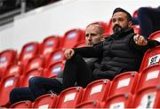 27 August 2021; Derry City first team coach Raffaele Cretaro, right, alongside former League of Ireland goalkeeper Gary Rogers at the EA Sports U19 Enda McGuill Cup Final match between Derry City and Bohemians at the Ryan McBride Brandywell Stadium in Derry. Photo by Piaras Ó Mídheach/Sportsfile