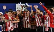 27 August 2021; Derry City captain Dean Corrigan lifts the cup after the EA Sports U19 Enda McGuill Cup Final match between Derry City and Bohemians at the Ryan McBride Brandywell Stadium in Derry. Photo by Piaras Ó Mídheach/Sportsfile