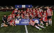 27 August 2021; Derry City players celebrate after their side's victory in the EA Sports U19 Enda McGuill Cup Final match between Derry City and Bohemians at the Ryan McBride Brandywell Stadium in Derry. Photo by Piaras Ó Mídheach/Sportsfile