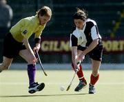 4 April 2004; Sean Nicholson, Cork Harlequins, in action against Mark Irwin, Instonians. Mens Irish Senior Cup Final 2003-2004, Cork Harlequins v Instonians, Belfield, Dublin. Picture credit; Brian Lawless / SPORTSFILE *EDI*