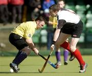 4 April 2004; John Aherne, Cork Harlequins, in action against Andrew Cousins, Instonians. Mens Irish Senior Cup Final 2003-2004, Cork Harlequins v Instonians, Belfield, Dublin. Picture credit; Brian Lawless / SPORTSFILE *EDI*