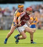 28 July 2013; Jason Grealish, Galway, in action against John Conlon, Clare. GAA Hurling All-Ireland Senior Championship, Quarter-Final, Galway v Clare, Semple Stadium, Thurles, Co. Tipperary. Picture credit: Stephen McCarthy / SPORTSFILE