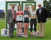 28 July 2013; Professor Ciarán Ó Catháin, President of Athletics Ireland, left, and Ray Colman, Chief Executive of Woodie's DIY and Garden Centres, right, with Winner of the Women's 800m event Aislinn Crossey, Newry A.C., Co. Down, second place Anna Lally, Galway City Harriers A.C., Co. Galway, left, and third place Iseult O'Donnell, Raheny Shamrock A.C., Co. Dublin, right, at the Woodie's DIY National Senior Track and Field Championships. Morton Stadium, Santry, Co. Dublin. Picture credit: Tomas Greally / SPORTSFILE