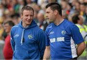 27 July 2013; Justin McNulty, Laois manager, left, and Fergal Byron, selector. GAA Football All-Ireland Senior Championship, Round 4, Donegal v Laois, Pairc Sean Mac Diarmada, Carrick-on-Shannon, Co. Leitrim. Picture credit: Oliver McVeigh / SPORTSFILE