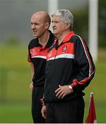 30 June 2013; Brian McIver, Derry manager, right, with Paddy Tally, trainer. GAA Football All-Ireland Senior Championship, Round 1, Derry v Sligo, Owenbeg, Derry. Picture credit: Oliver McVeigh / SPORTSFILE