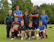 1 August 2013; Leinster's Tom Daly and Adam Byrne with members of Cill Dara RFC, Co. Kildare, from left, Rory Mahon, Conor Smyth, Cian Buckley, Ross Thompson, Fionn Heffernan, Robert Miller and Cathal Mahon with the British & Irish Cup, Amlin Challenge Cup and the Rabodirect Pro12 Cup. Leinster School of Excellence, The King's Hospital, Palmerstown, Dublin. Picture credit: Matt Browne / SPORTSFILE