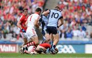 3 August 2013; Paul Flynn, 10, and Bernard Brogan, Dublin, both attempt to shoot on goal as Cork's Michael Shields gains possession. GAA Football All-Ireland Senior Championship, Quarter-Final, Dublin v Cork, Croke Park, Dublin. Picture credit: Stephen McCarthy / SPORTSFILE